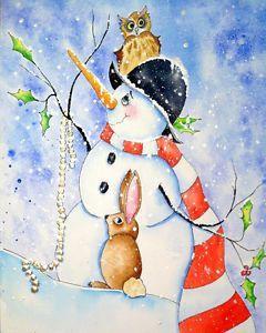 Original Watercolor Painting Winter Fantasy SNOWMAN Bunny Owl