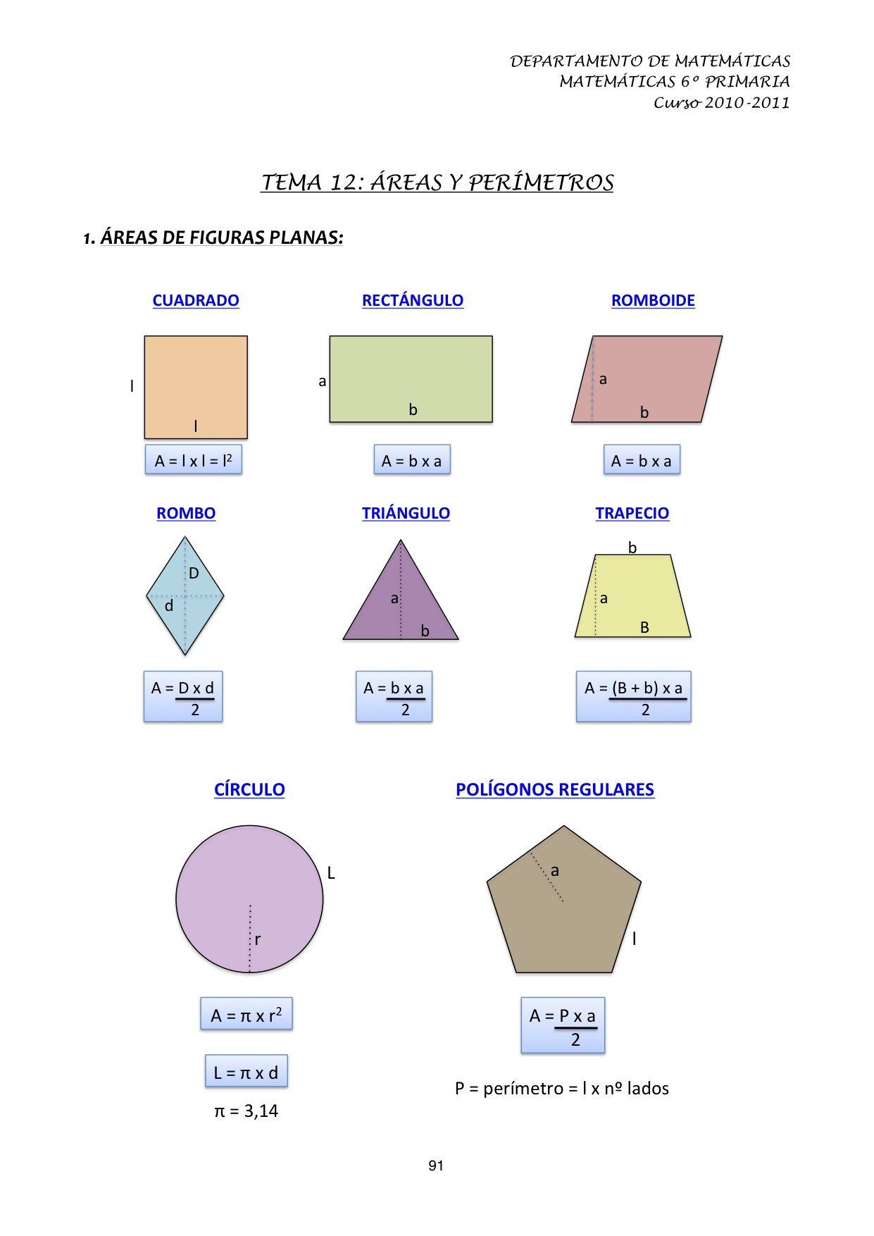 Areas Y Perimetros De Figuras Geometricas 3 3 Per 237 By 193 Rea