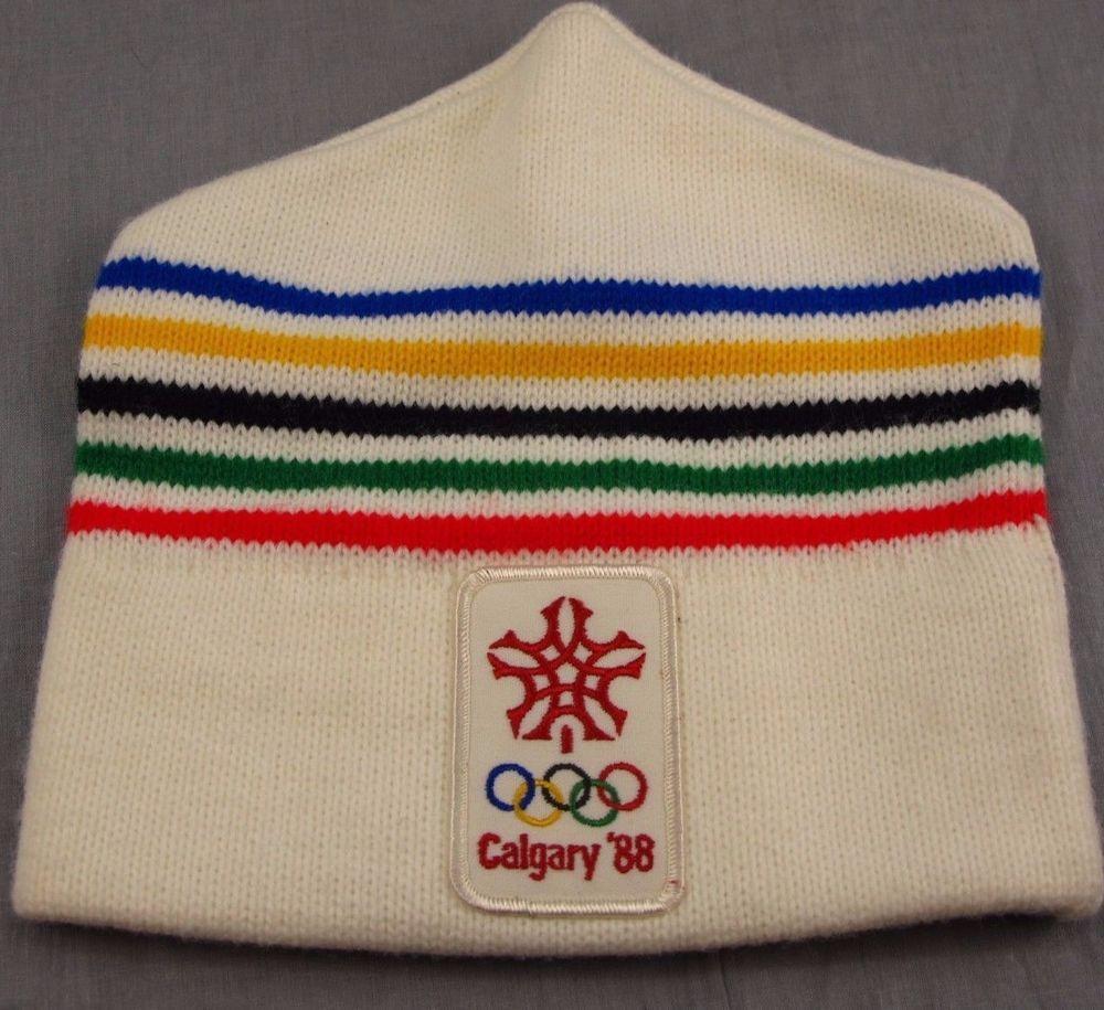 Olympics Calgary 1988 Vintage Stocking Cap Winter Hat Skiing Ski Canada   Unknown  StockingCap 1ed2792a162