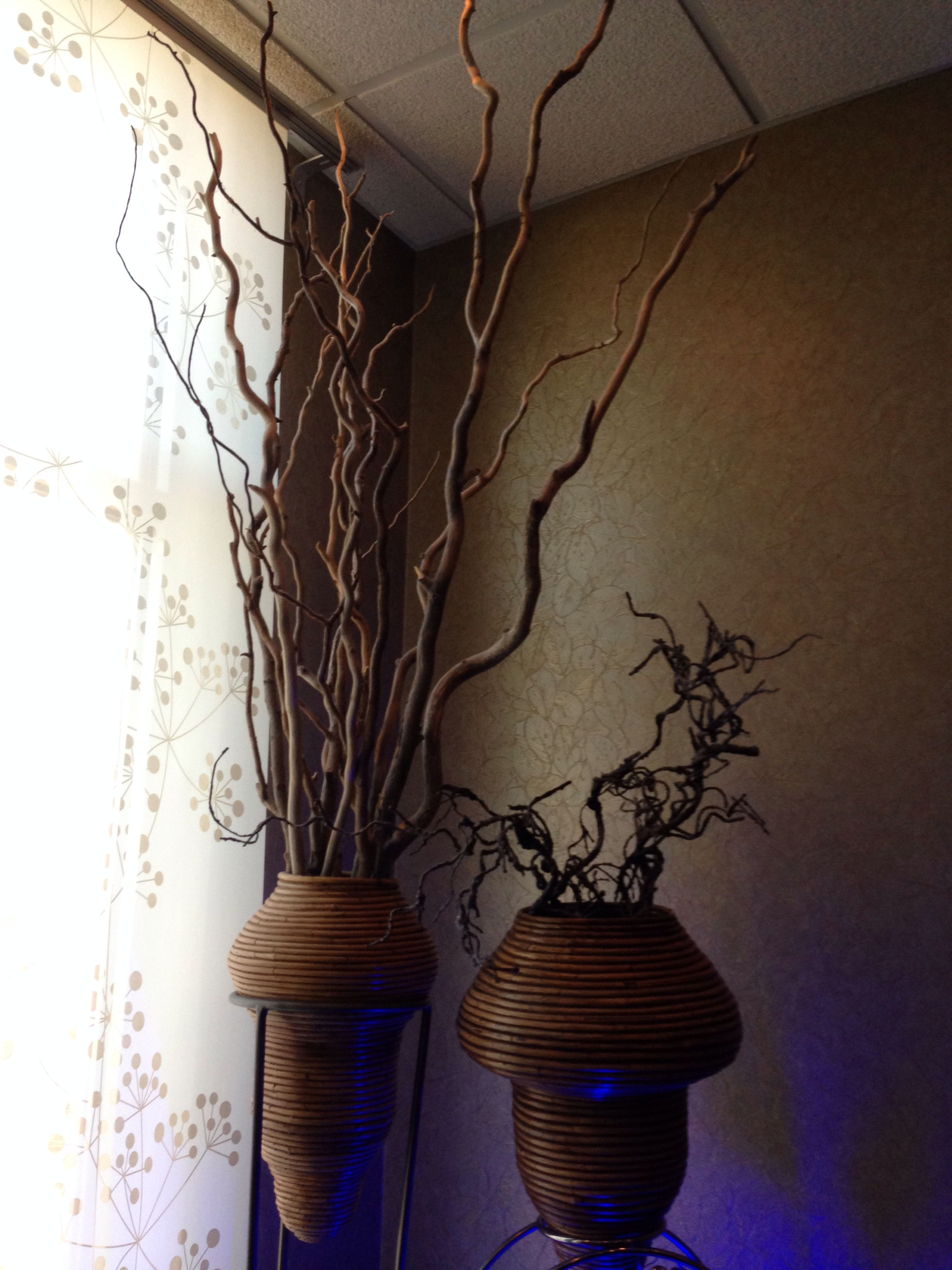 Decorative vases. Add twisted willow branches for a rustic touch.