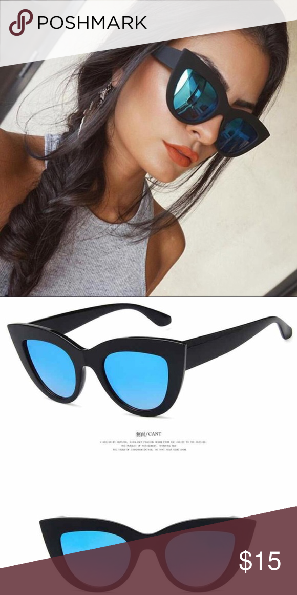 d3f26595be6d Large cat eye mirror sunglasses Brand new large exaggerated cat eye sunglasses  in a matte black frame with blue mirror lenses. Accessories Sunglasses