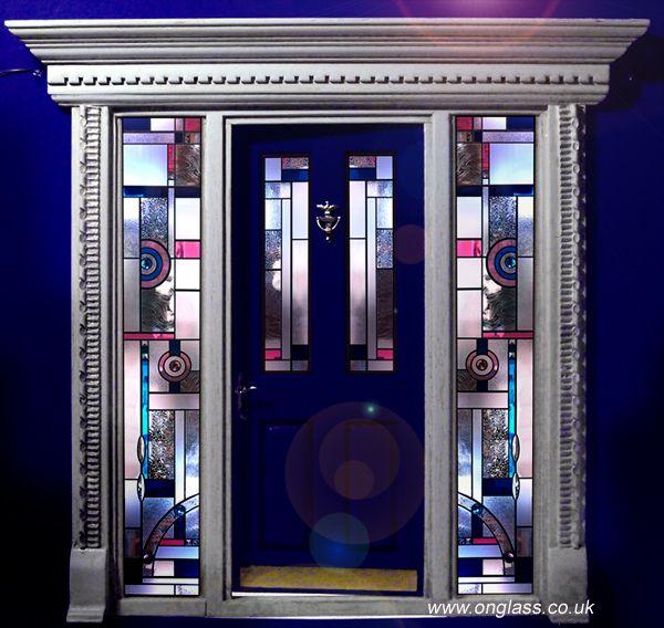 art deco jewelled bevel glass door and side panels set