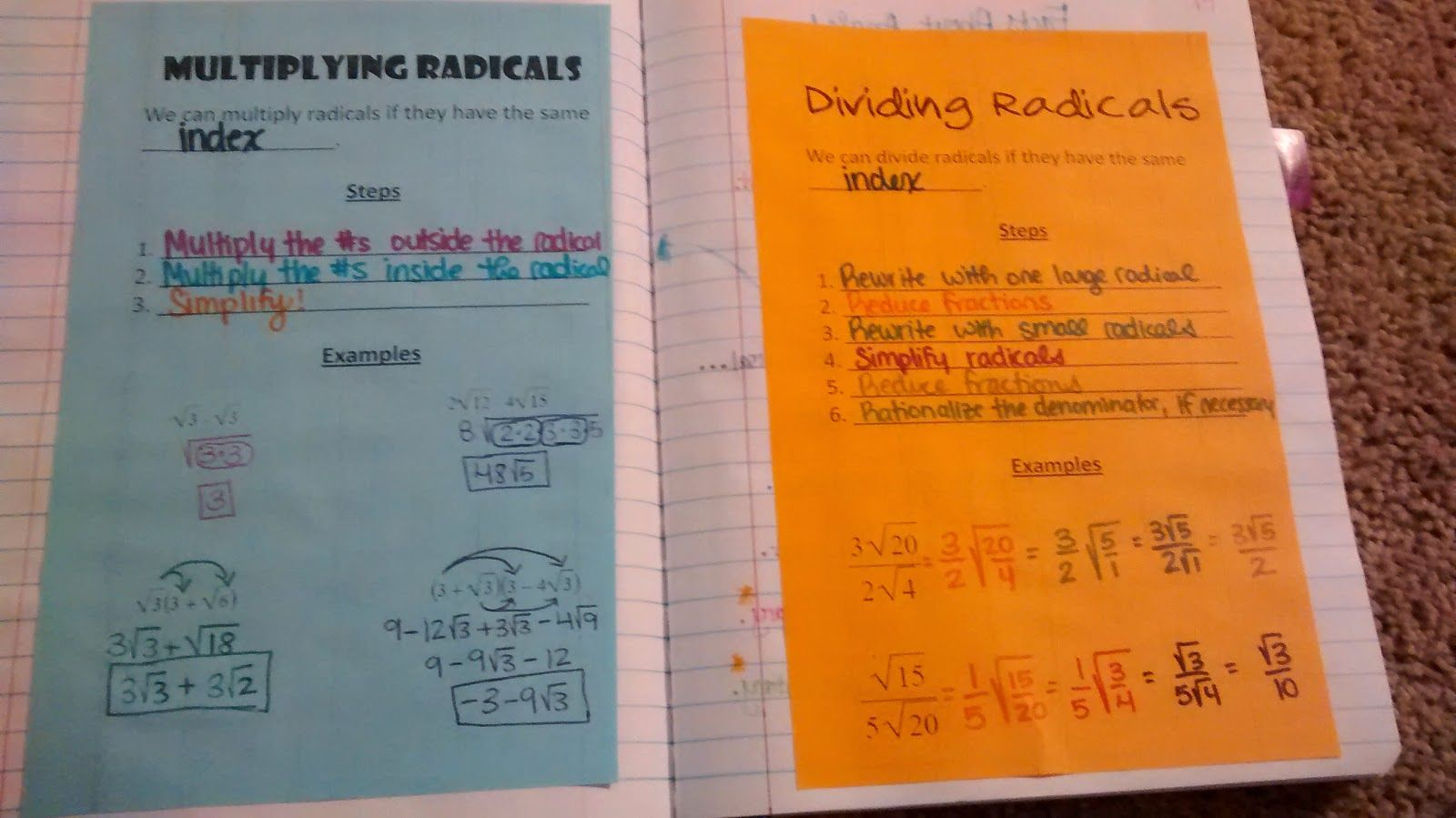 Trig Review Multiplying And Dividing Radicals