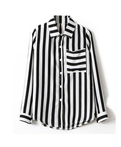 381b10b8d08 Lapel Collar One Pocket Vertical Stripe Long Sleeve Blouse