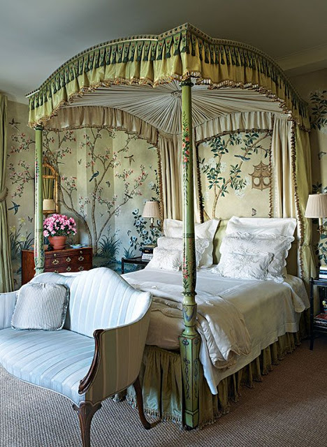 Old World Style Green Bedrooms