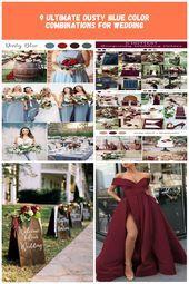 Dusty Blue bruiloft kleurideeën Lente zomer bruiloft bordeaux rood #bruiloft #bl …