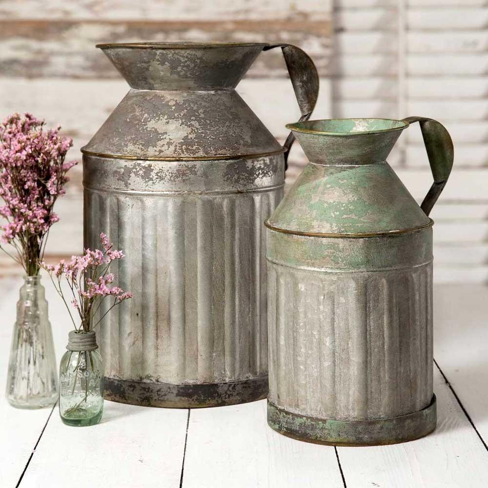 Rustic Metal Milk Jugs Set of 2 Farmhouse vases, Metal
