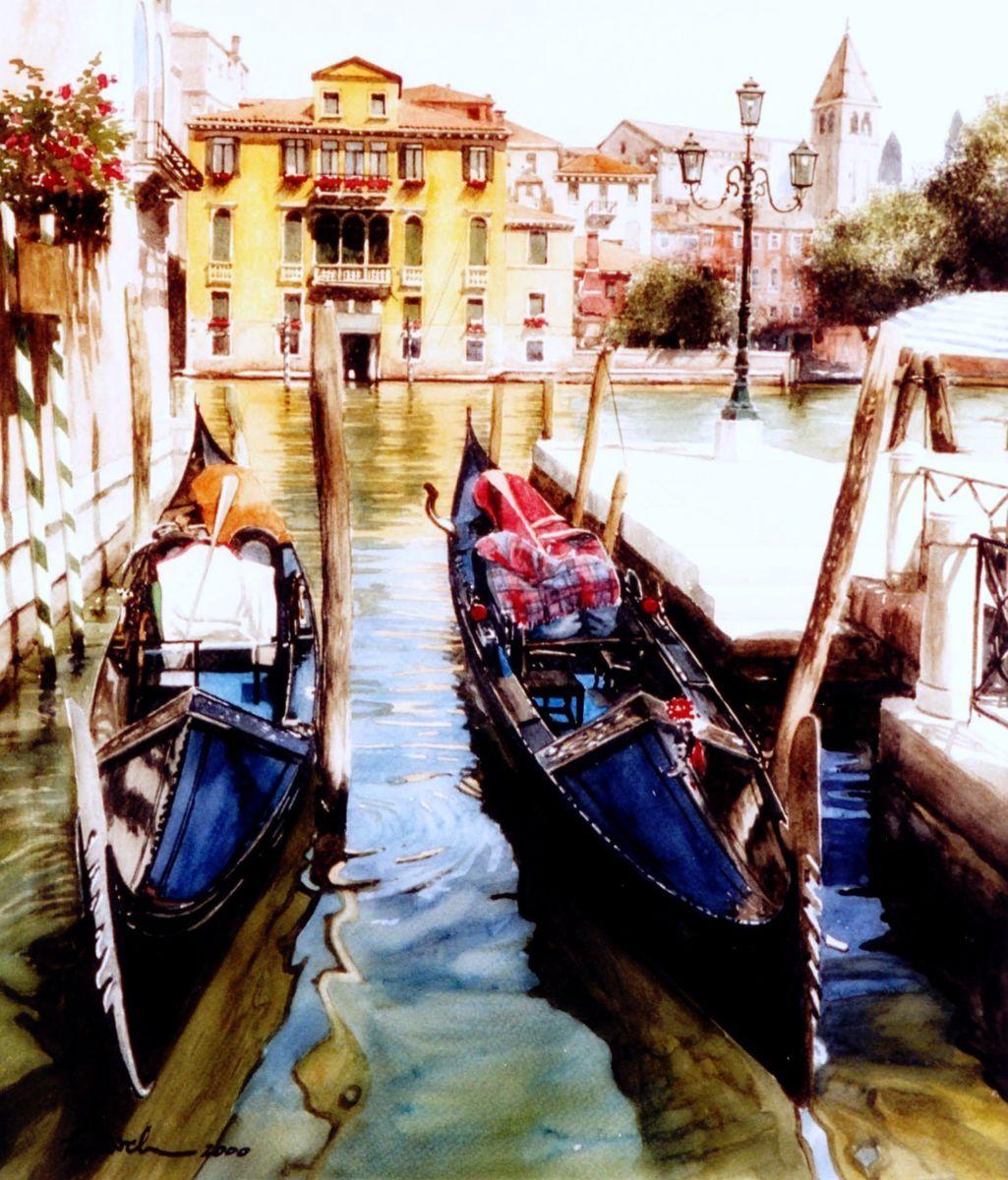 Gondoles A Cote Du Ponte Dell Accademia Venise Peinture 90x105