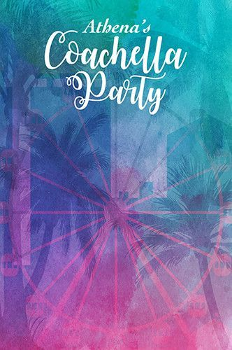 C0170 Custom Coachella Party Backdrop Colorful Watercolor Background (ANY TEXT) Wedding, Baby Shower