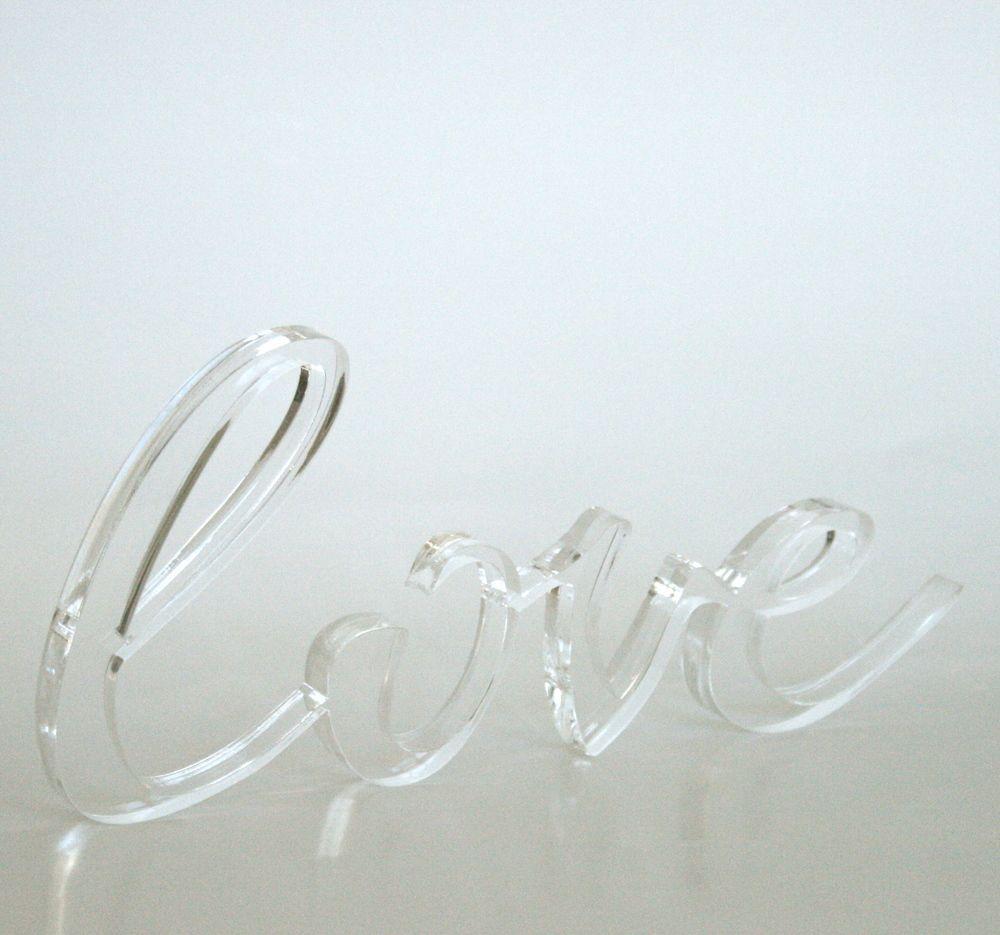 lucite acrylic letter cursive love