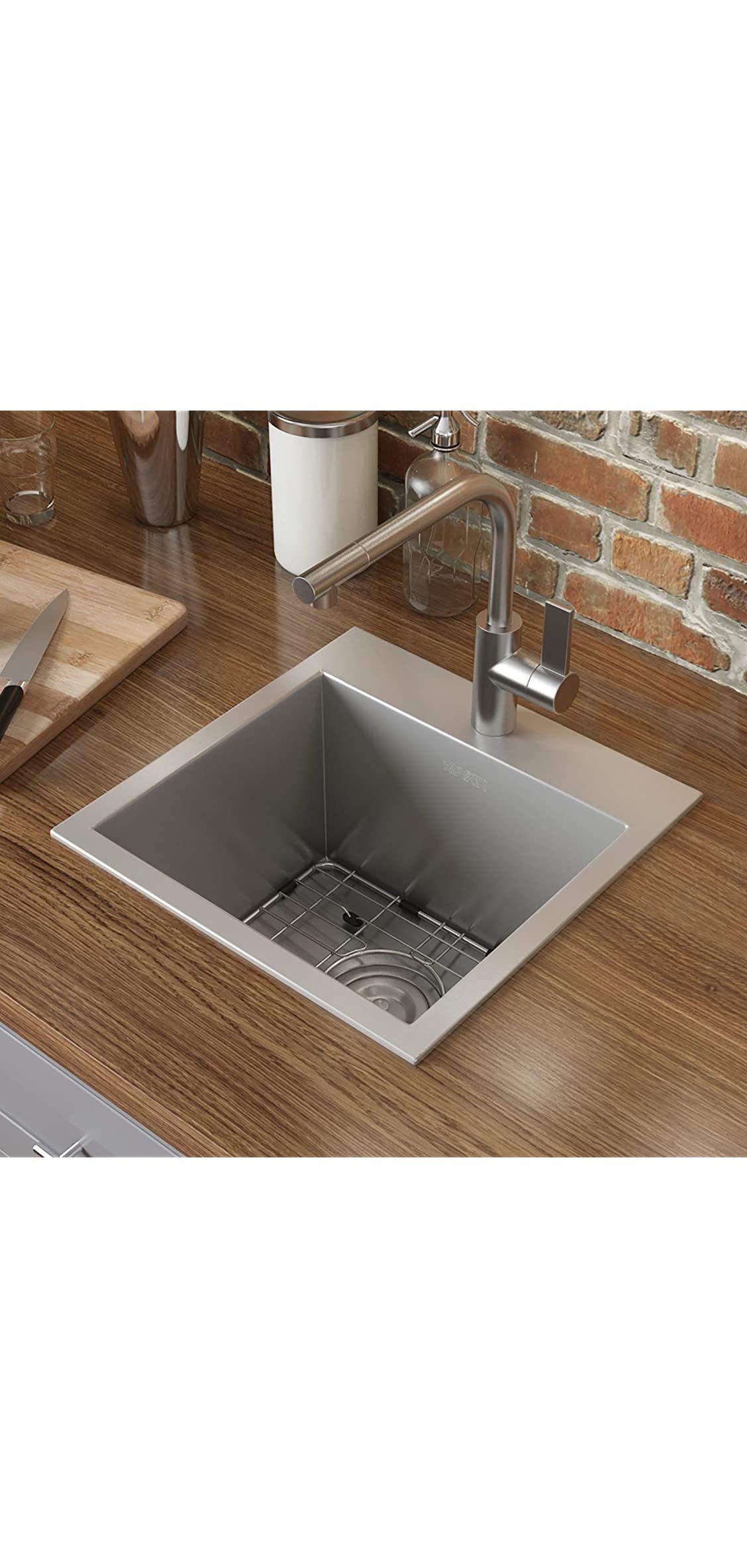 Stainless Steel Sink Ruvati 15 X 15 Inch Drop In Topmount Bar Prep Sink 1 In 2020 Clean Stainless Steel Sink Stainless Steel Kitchen Island Stainless Steel Countertops