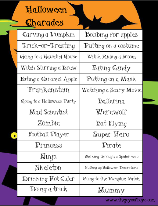 halloween charades perfect way to entertain the kiddos while they wait to trick or treat