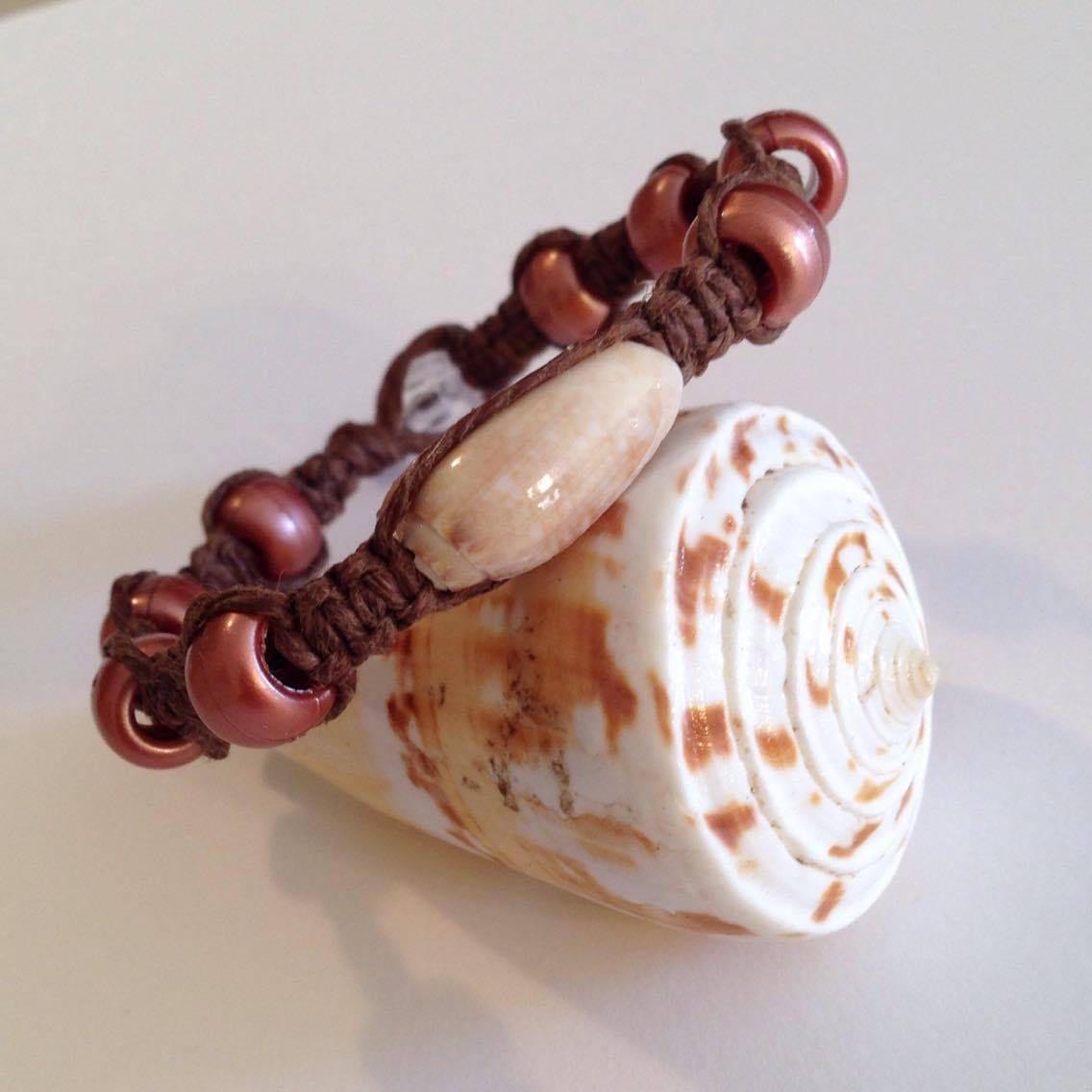 Rose Gold Bracelet Real Seashell Bracelet Seashell Bracelet Hemp