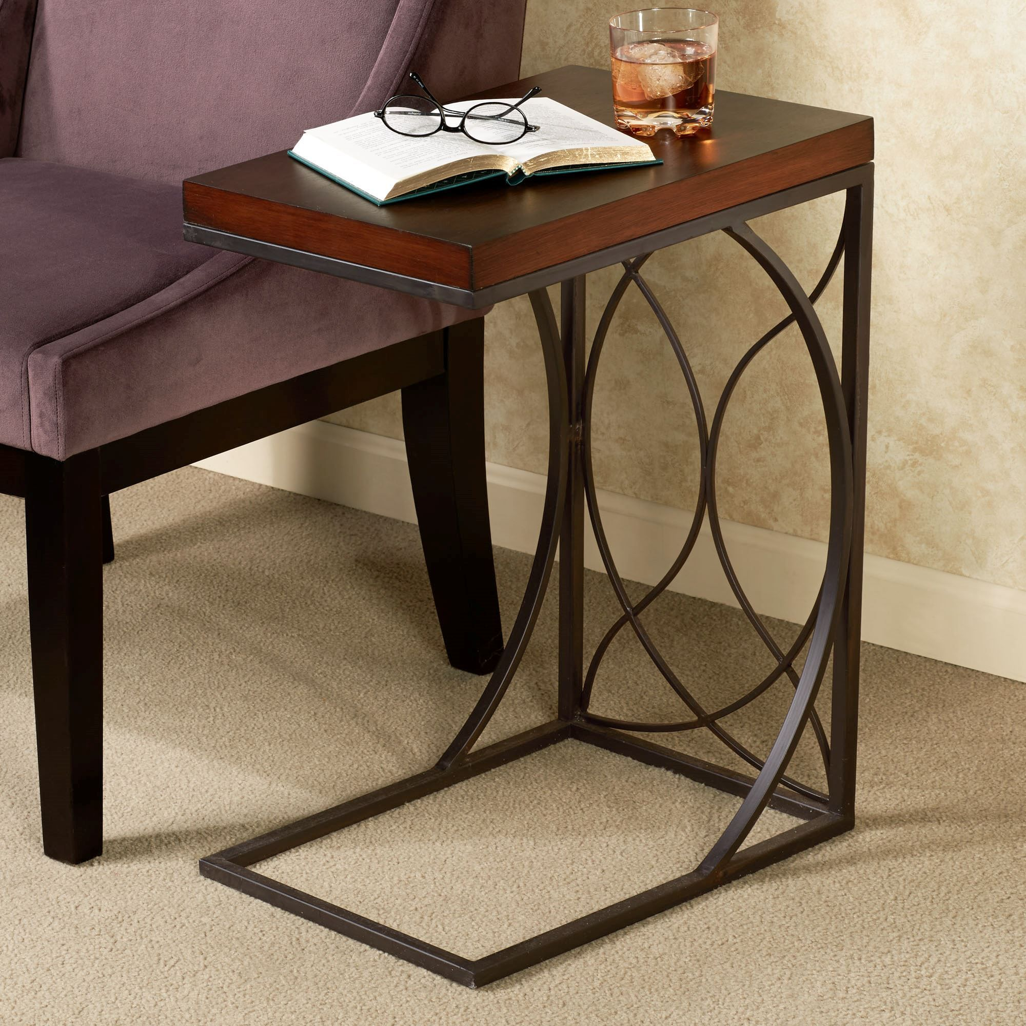 Rustic Bronze Polished Iron C Shape Based Sofa Side Table With Rectangle  Brown Stained Teak Wood Eased Top On Light Brown Pile Carpet As Well As  Ceramic ...