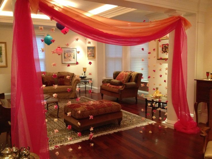 Mehendi party at home mehendi decor how to plan a for Simple diwali home decorations