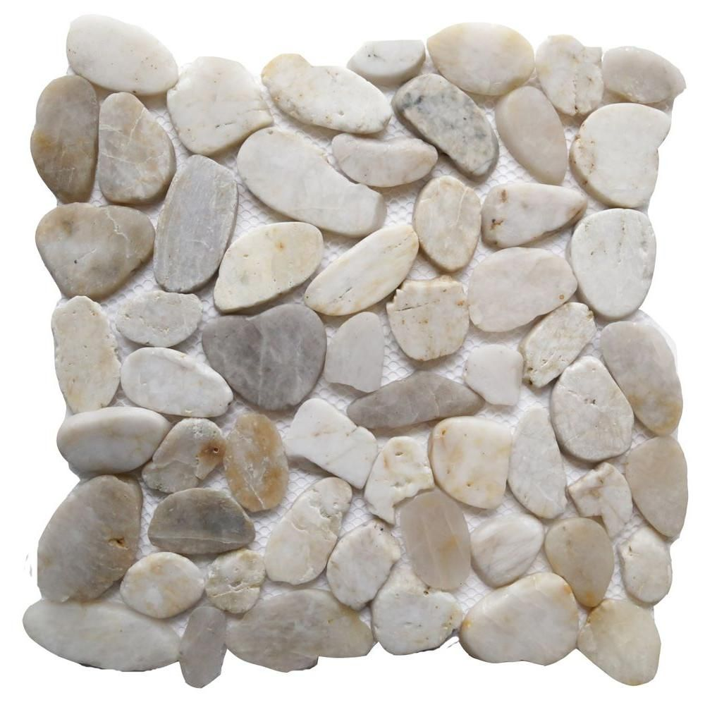 Islander white shell 12 in x 12 in sliced natural pebble stone for shower floor islander white shell 12 in sliced natural pebble stone floor and wall the home depot dailygadgetfo Images