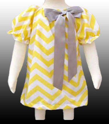 Beautiful Baby Girls Boutique Smock Chevron Dress - 0 6 - 6 12 -  months Poly Cotton Yellow White Gray Bow Priness Party Summer Ruffle