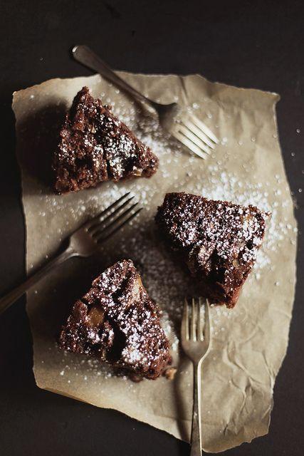 Pear & Almond Chocolate Cake with Cider Glaze / Honey and Jam
