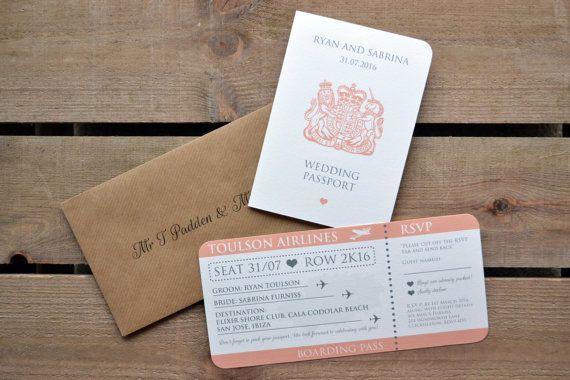 Wedding Invitation Personalised Destination by AmysAvenueUK Amy