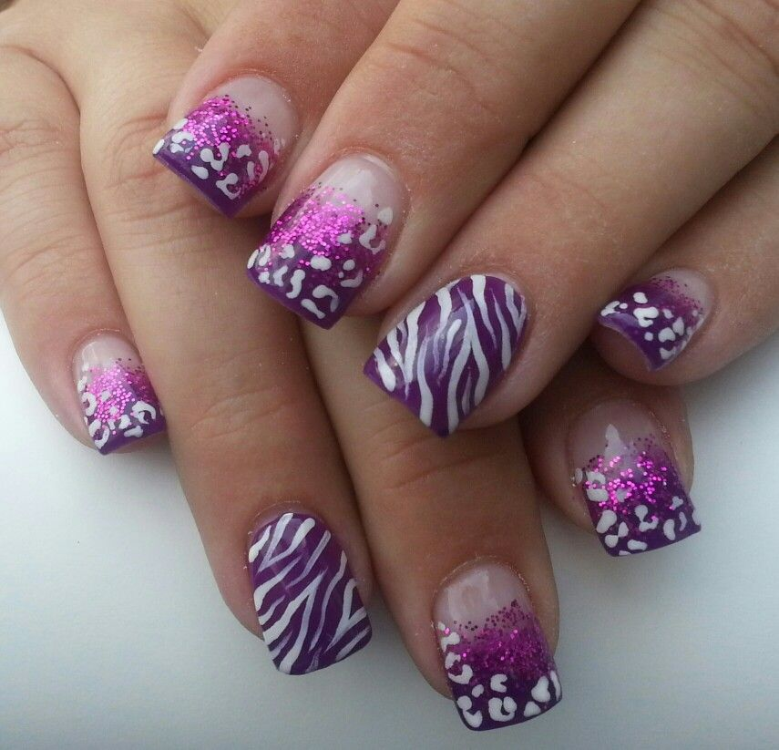 Pink Animal print nails.