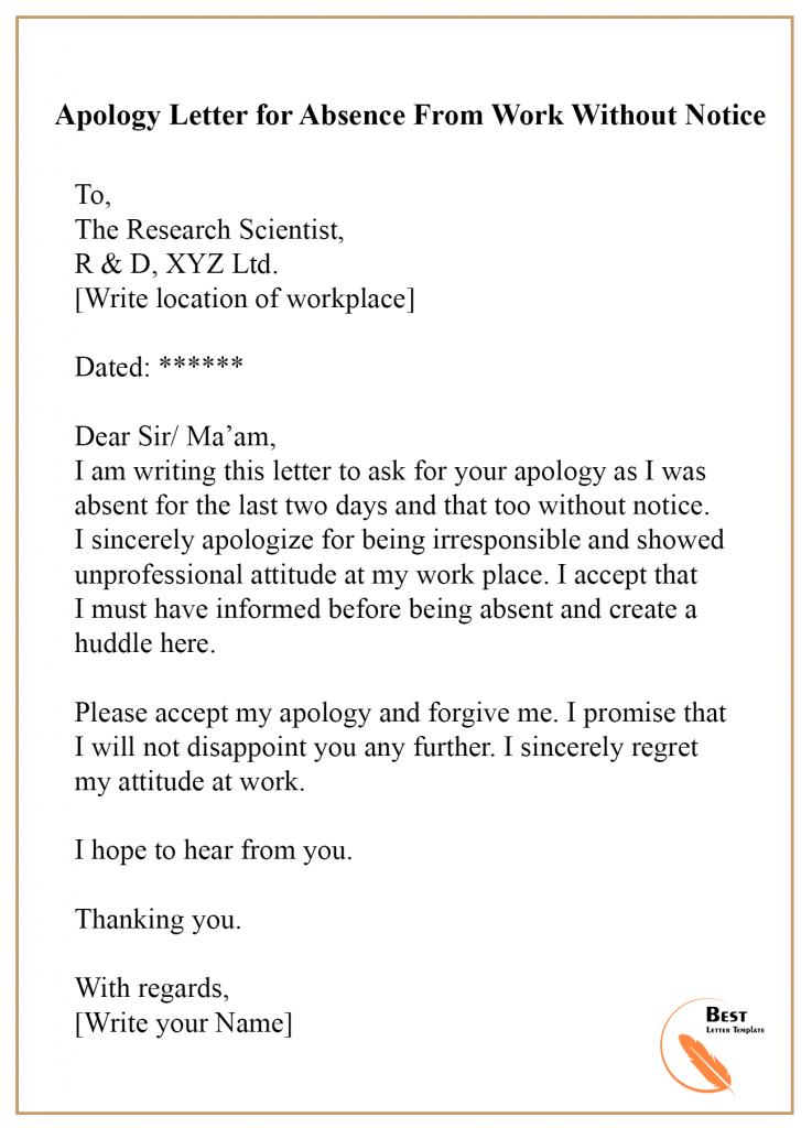 Apology Letter Template For Absence Format Sample Example Best Letter Template Lettering Business Letter Template Business Letter Format