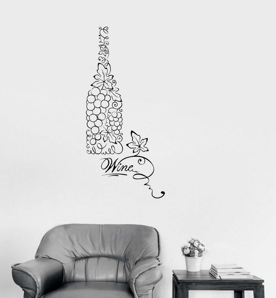 Vinyl Decal Bottle Wine Grapes Kitchen Restaurant Decor Wall ...