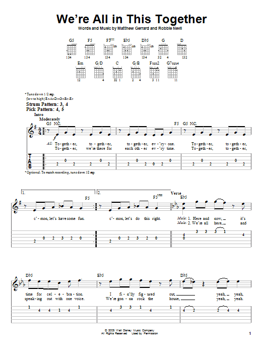 We Re All In This Together By High School Musical Easy Guitar Tab Guitar Instructor High School Musical Easy Guitar Tabs Easy Guitar