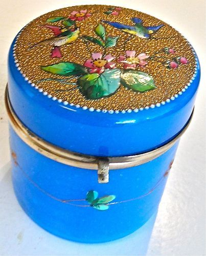 Antique Opaline Glass Box Gilded Enameled Top With Birds And