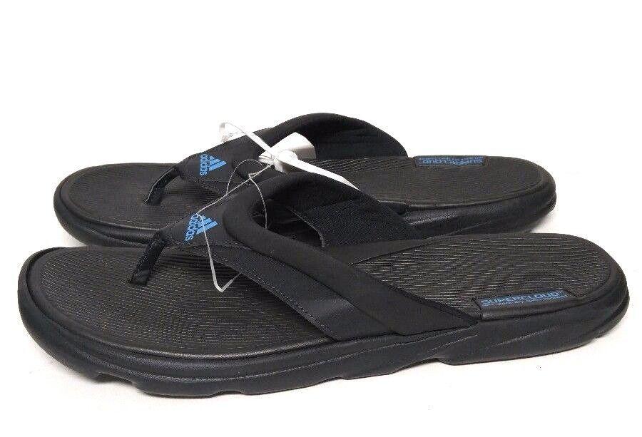 933902943359 Adidas Flip Flops Black Blue Sandals Supercloud Men s 11 M Quick Dry Swim  Travel  adidas  Slides