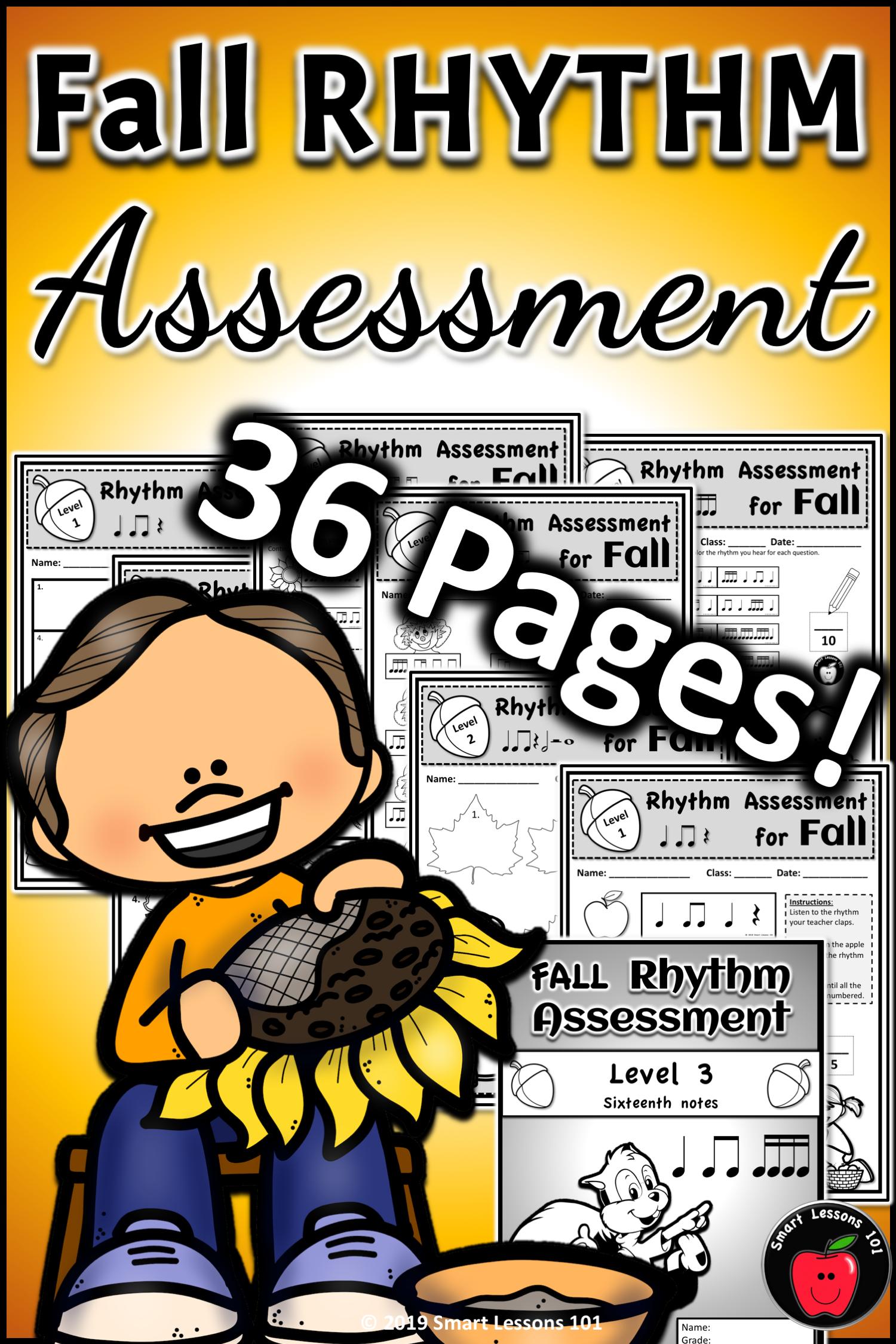 Fall Rhythm Assessment 1 Rhythm Worksheets Elementary