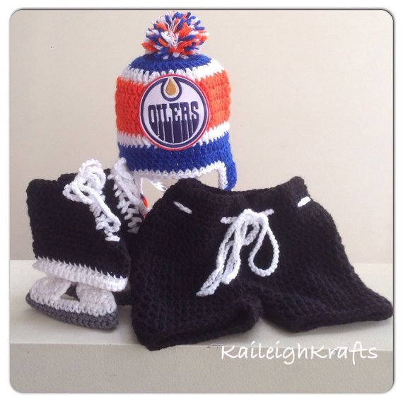 f1a9d9b30 Edmonton Oilers Crochet Hat with NHL Patch by KaileighKrafts