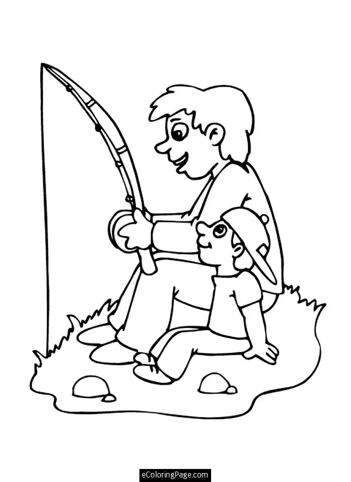 Happy Fathers Day Father And Son Go Fishing Coloring Page For Kids