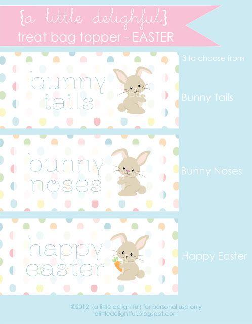 DIY Printable Digital File Personalized Happy Easter Treat Bag Topper