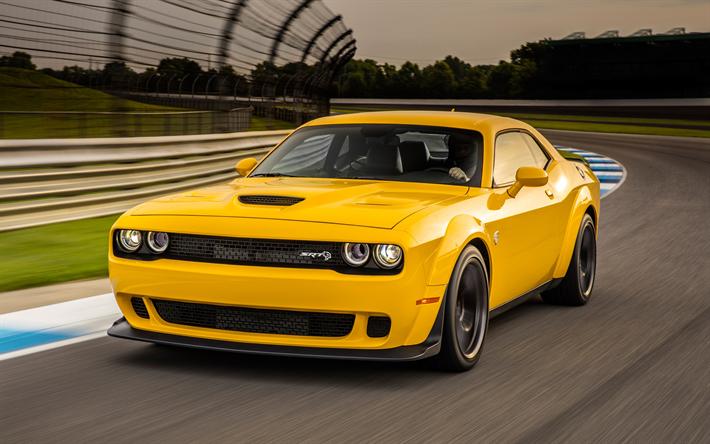ダウンロード画像 ダッジチャレンジャー SRT, 2018, Hellcat Widebody, 黄色のSRT, スポーツカー, アメリカンスポーツ車,  ダッジ フリー.