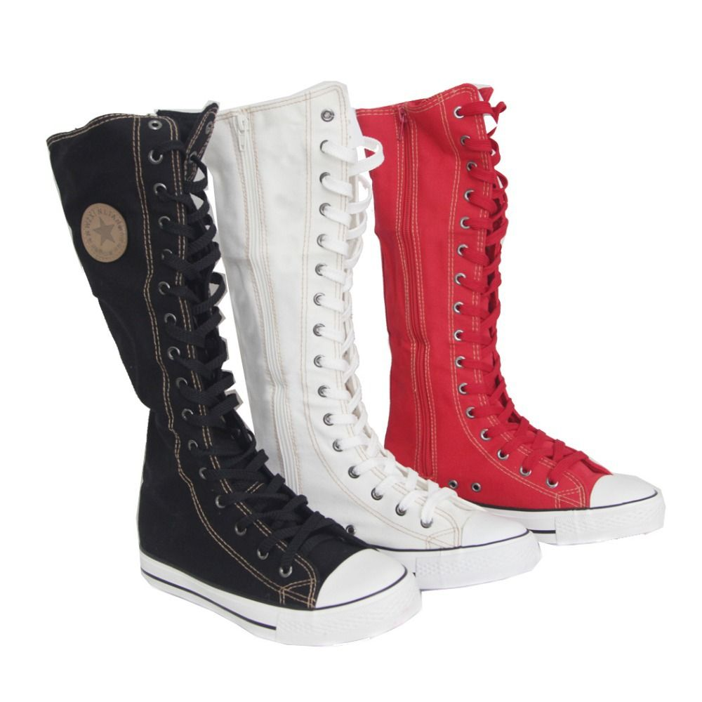 Women's Men's Canvas Lace Up Boots