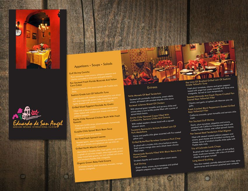 Brochure Design For A Client That Has An Upscale Restaurant