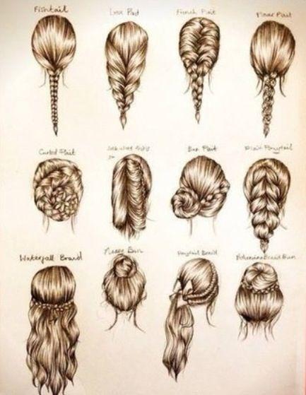 braid variations fashion hair drawing