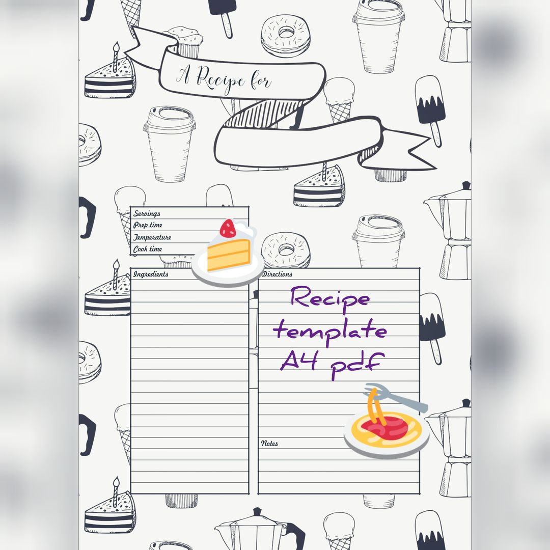 Blank recipe template, printabe recipe card A4, pdf download ...
