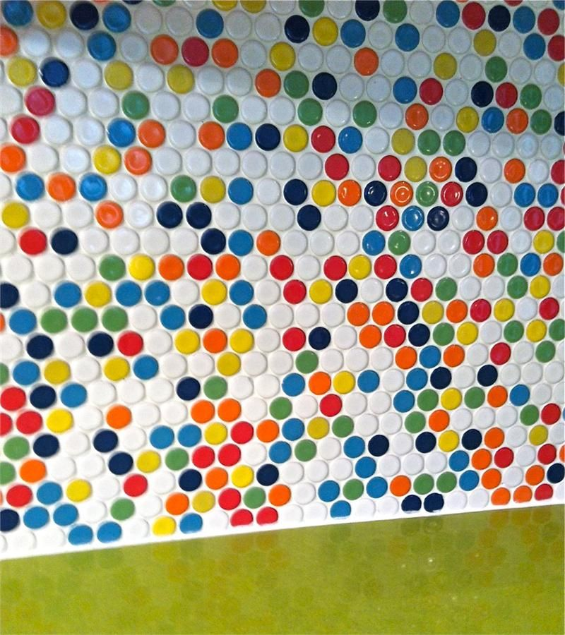 Penny tile for bathroom tile and kitchen backsplash tile ModDotz Gumball