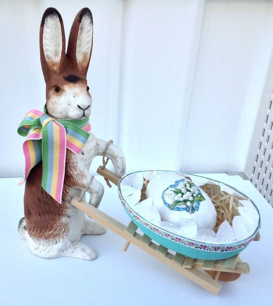 Vintage Style German Papier Mache Easter Rabbit Cand Container W