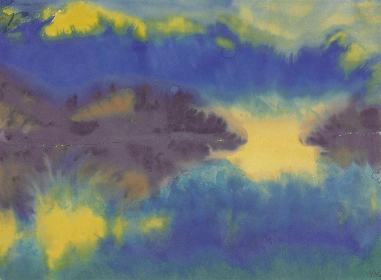 """thunderstruck9: """" Emil Nolde (German, 1867-1956), Schweizer Alpenlandschaft und der Vierwaldstättersee [Swiss Alps landscape and Lake Lucerne], April 1930. Watercolour on Japan paper, 34 x 46 cm. """""""