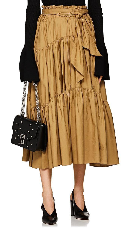 81244cd6f0 Proenza Schouler Cotton Poplin Tiered Midi-Skirt - 2 Beige ...