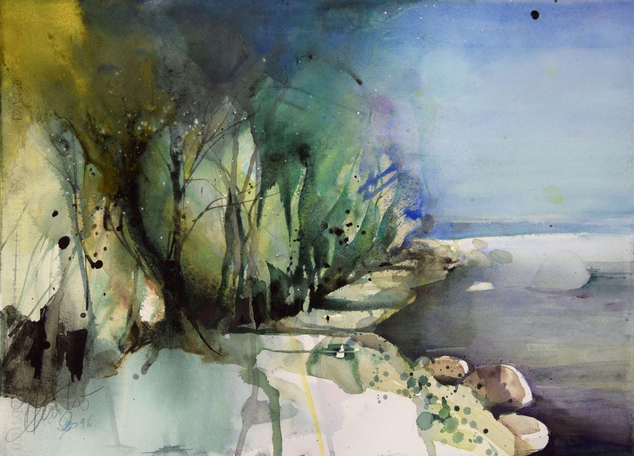 landschaften  kunstmalerei aquarellmalerei kunst aquarell