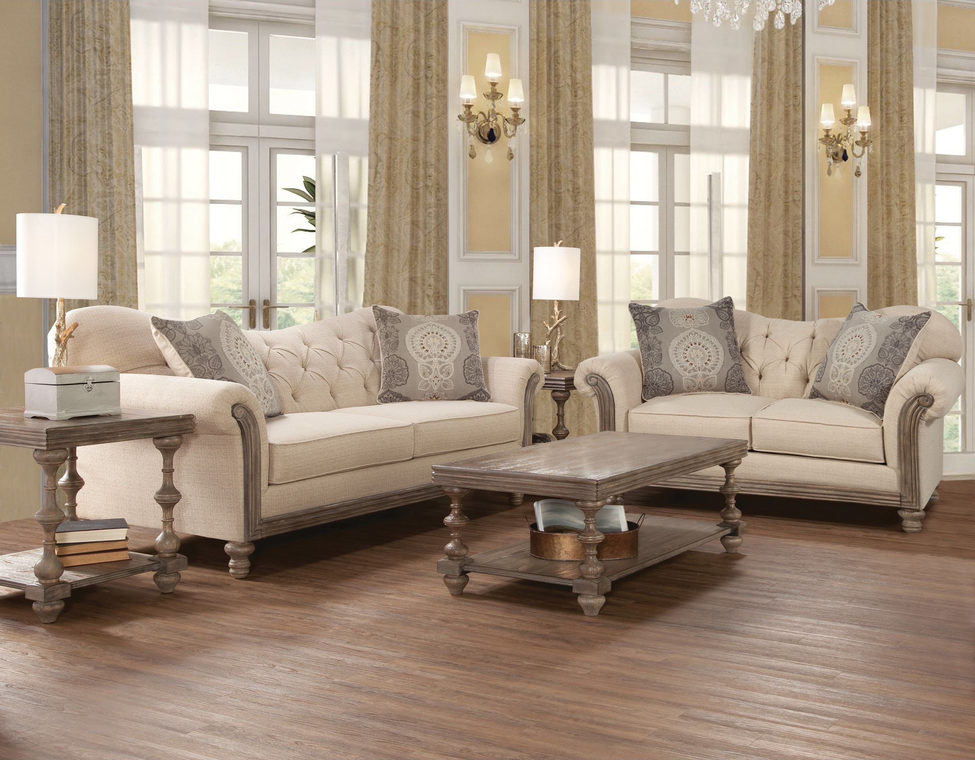 New Siam Sofa And Love Seat In Parchment With Baroque Fog Toss