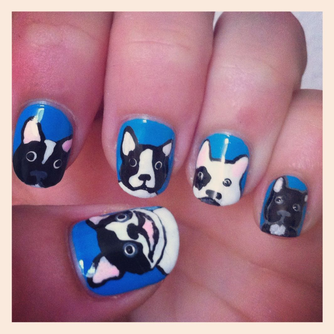 bulldog+nail+art | nails nail polish french bulldog boston terrier ...