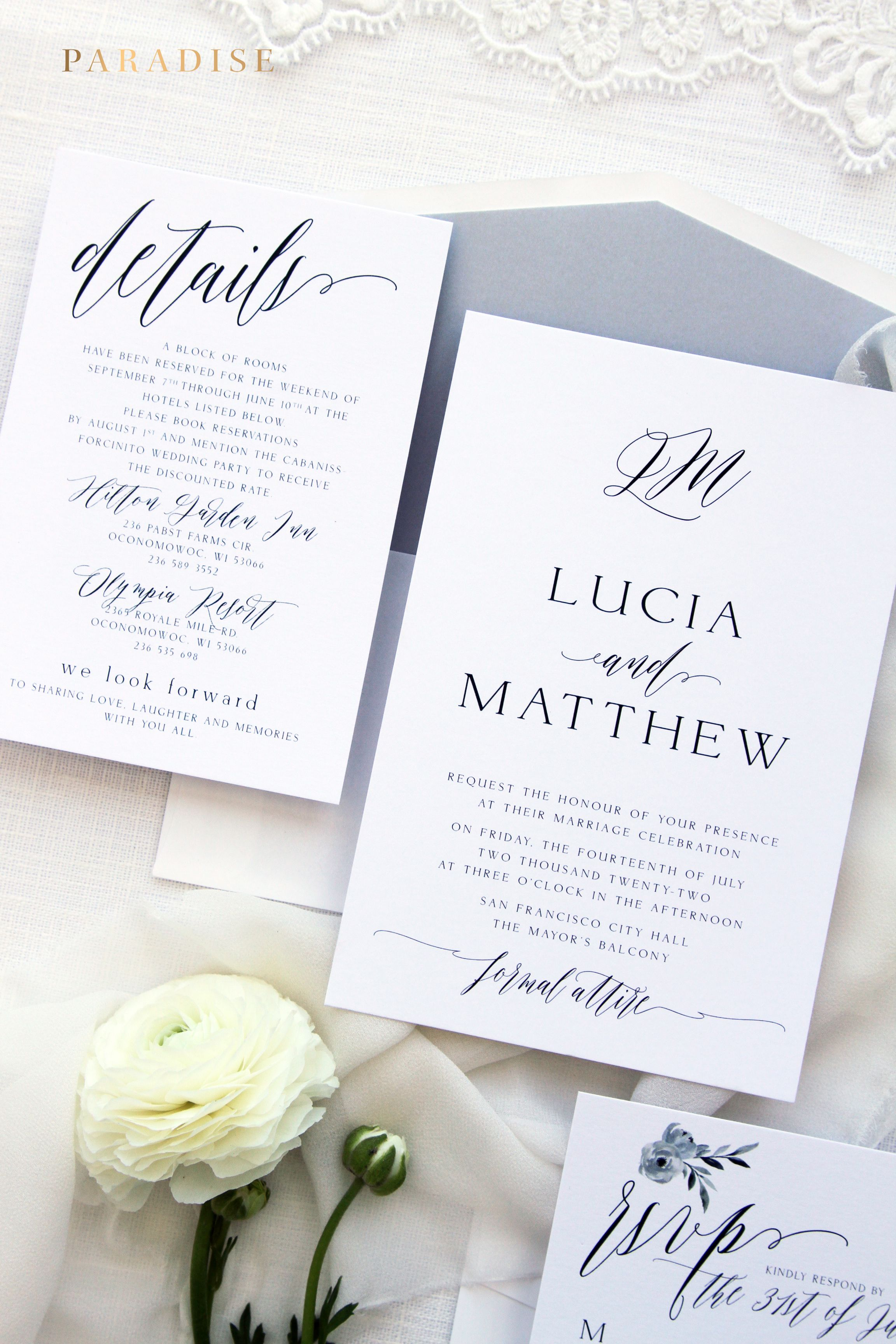 Jessa Dusty Blue Wedding Invitation Sets, Printable Invitations or ...