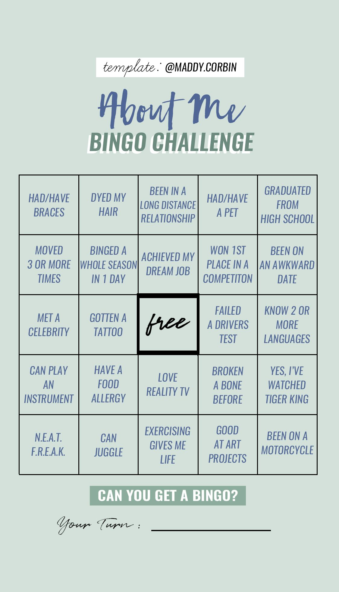 About Me Bingo Challenge Story Template