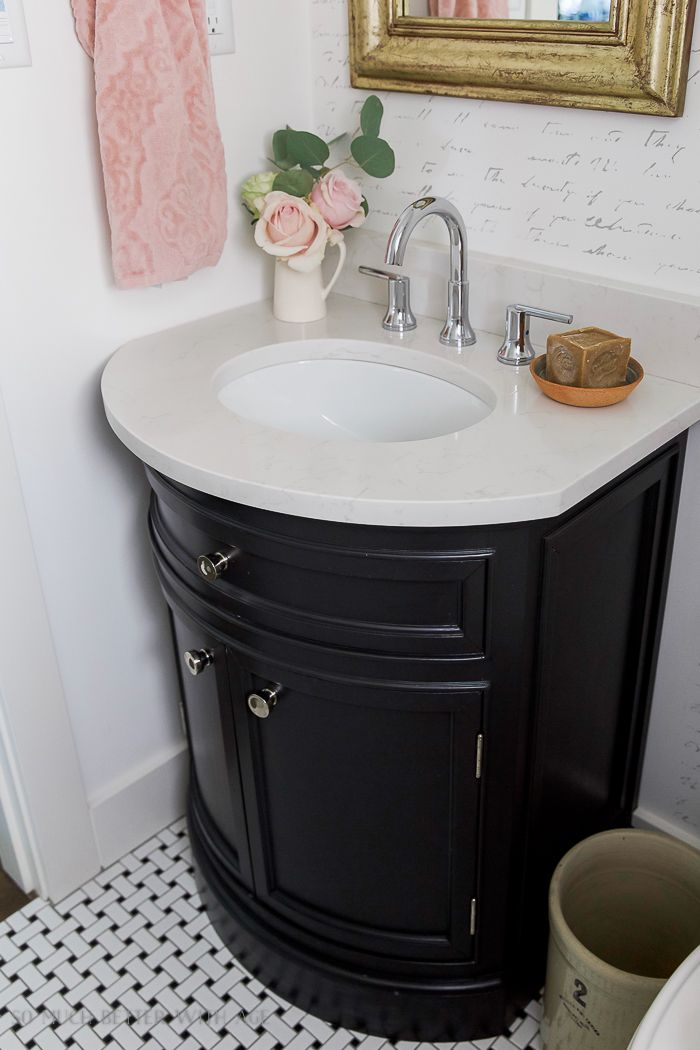 Black White French Powder Room Makeover Fun Bathroom Decor