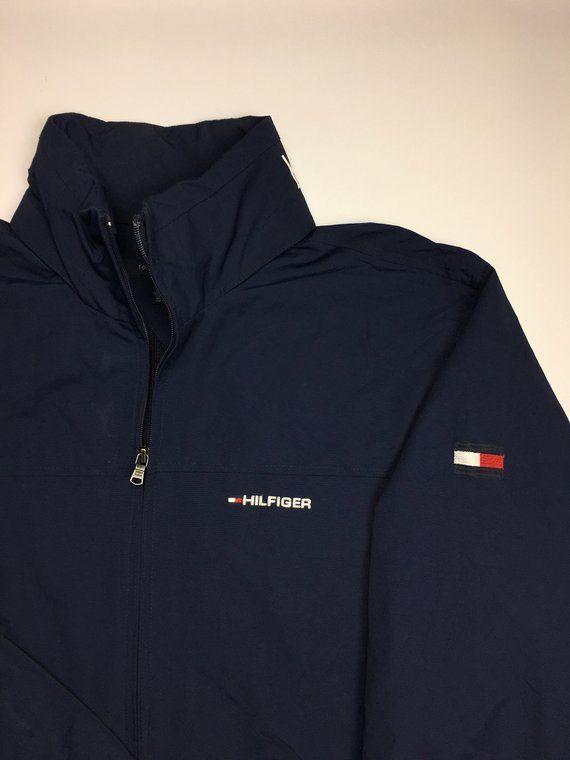 1990s Vintage Tommy Hilfiger Windbreaker Jacket - 90's Black