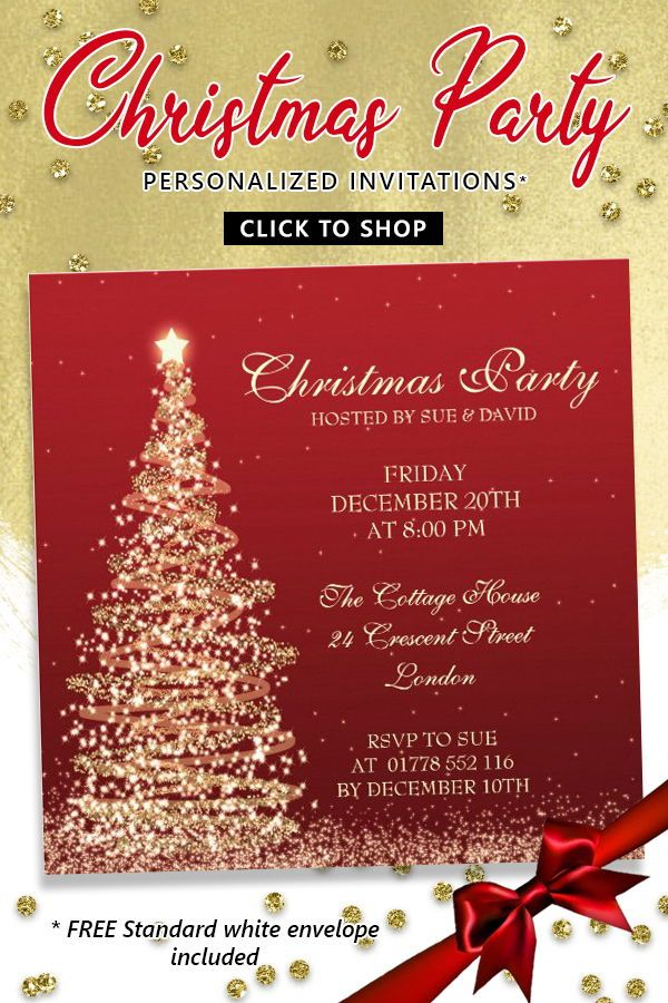 Elegant Christmas Party Red #Invitation christmas #holiday #merrychristmas #family #christmastree #holidays #happyholidays #winter #xmas #santa #christmasparty #holidayparty